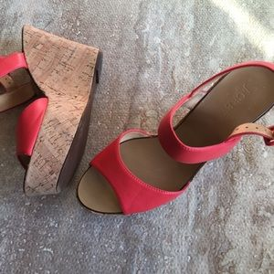 SZ 7 J. Crew Tangerine Colored Cork Wedges